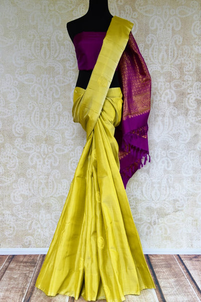 Buy green Kanjeevaram silk saree online in USA from Pure Elegance. Grab ethnic Indian Kanchipuram silk sarees from our store Indian fashion store in USA.-full view
