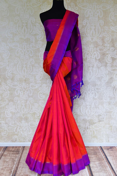 Buy pink Kanjeevaram silk saree online USA from Pure Elegance. Grab alluring Indian Kancheepuram silk sarees from our store Indian fashion store in USA for every occasion.-full view