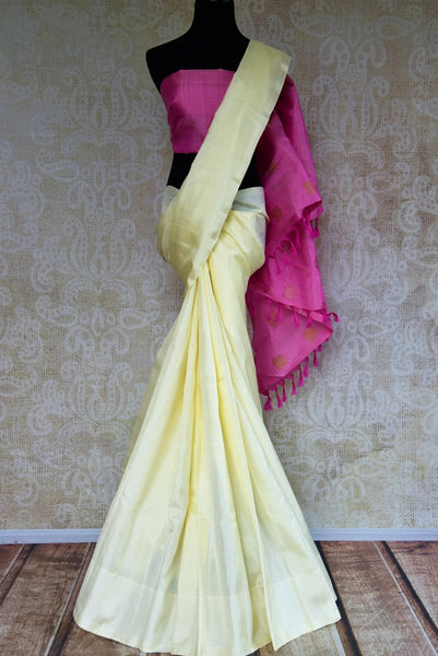 Buy offwhite Kanjeevaram silk saree online in USA from Pure Elegance. Grab ethnic Indian Kancheepuram silk sarees from our store Indian fashion store in USA.-full view