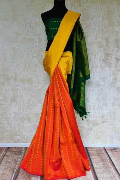 Buy orange and yellow Kanjivaram silk saree online in USA from Pure Elegance. Our store brings an alluring range of Indian Kancheepuram silk sarees for women in USA.-full view