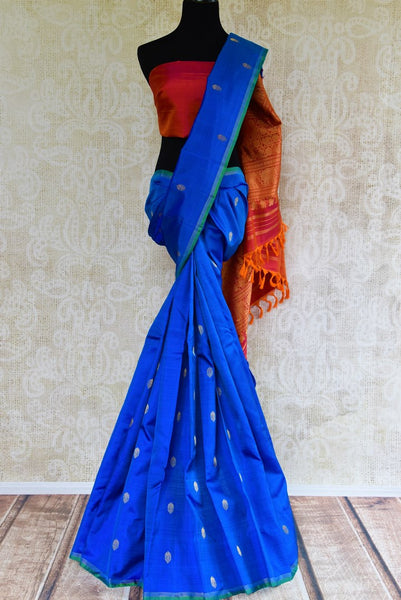 Buy blue Kanchipuram silk sari online USA with gold zari buta from Pure Elegance. Our store brings an exquisite range of ethnic Indian silk Kanjeevaram sarees.-full view