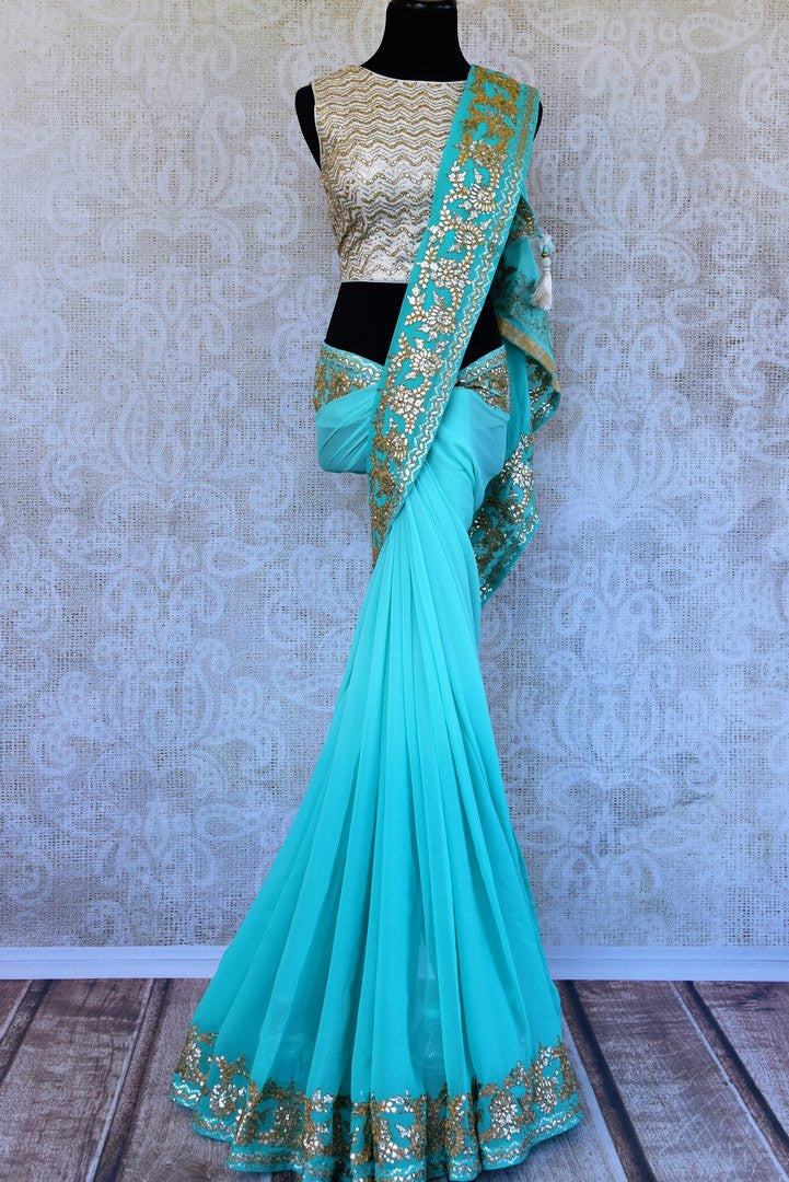 Buy blue Georgette gota patti saree online in USA from Pure Elegance with readymade blouse. Our store has exclusively curated Indian designer saris online for women.-full view