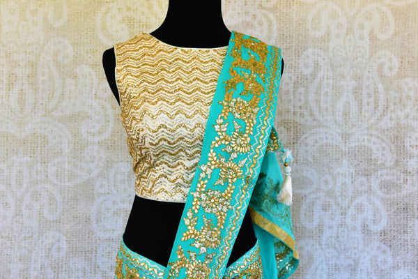 Buy blue Georgette gota patti saree online in USA from Pure Elegance with readymade blouse. Our store has exclusively curated Indian designer saris online for women.-pallu