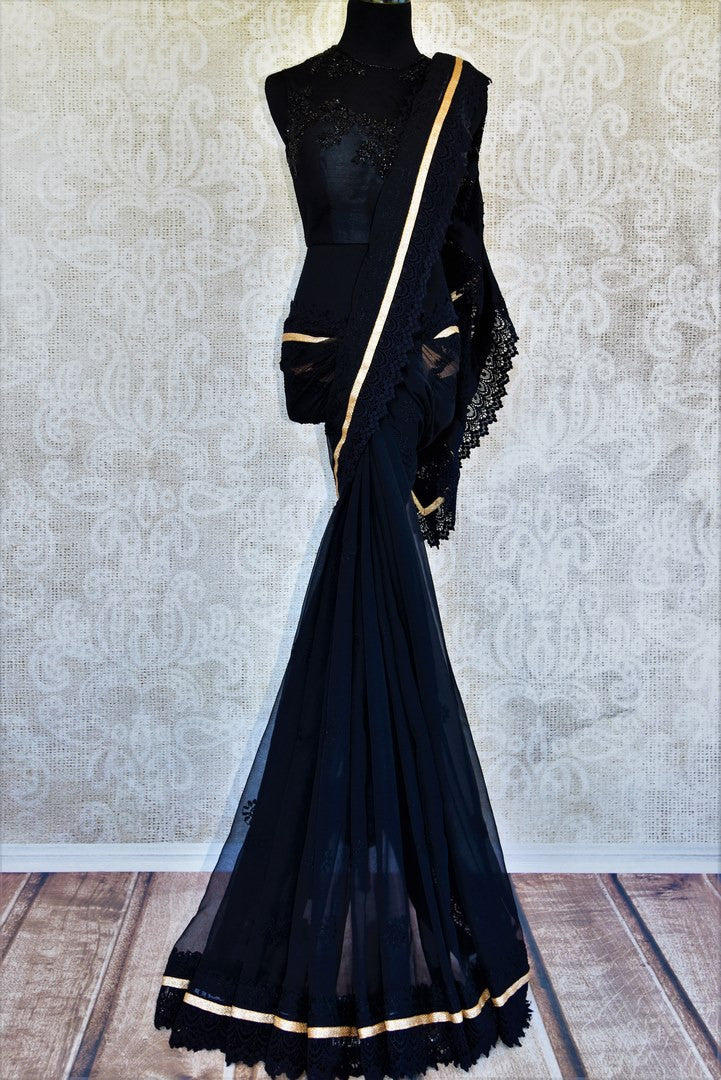 Buy black Lucknowi saree online in USA from Pure Elegance with embroidered readymade blouse. Our store has exclusively curated Indian designer sarees online for women.-full view