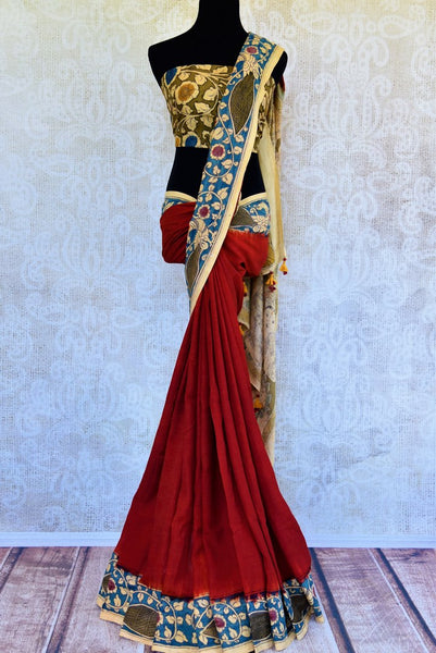 Buy red Assam Silk Kalamkari printed sari online in USA. Pure Elegance presents an alluring range of ethnic Indian sarees online and in store for women in USA.-full view