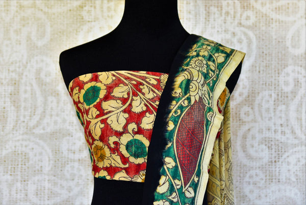 Buy black Assam Silk Kalamkari printed sari online in USA. Pure Elegance presents an alluring range of pure woven Indian sarees online and in store for women in USA.-pallu