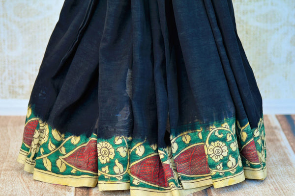 Buy black Assam Silk Kalamkari printed sari online in USA. Pure Elegance presents an alluring range of pure woven Indian sarees online and in store for women in USA.-pleats
