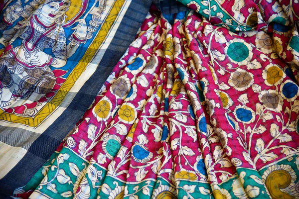 Buy pink and green Tussar Kalamkari printed saree online in USA. Pure Elegance presents an ethnic range of Indian Kalamkari print sarees online and in store for women.-details