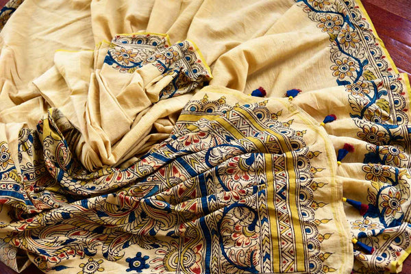 Buy classy beige and blue linen Kalamkari printed saree online in USA. Pure Elegance store presents an exclusive collection of Indian printed Kalamkari saris in USA.-details