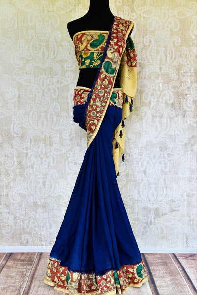 Buy blue and red Tussar Kalamkari printed saree online in USA. Pure Elegance store presents an exclusive collection of printed Kalamkari saris from Indian in USA.-full view