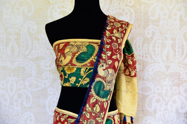Buy blue and red Tussar Kalamkari printed saree online in USA. Pure Elegance store presents an exclusive collection of printed Kalamkari saris from Indian in USA.-pallu