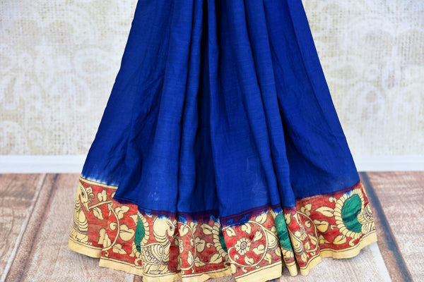 Buy blue and red Tussar Kalamkari printed saree online in USA. Pure Elegance store presents an exclusive collection of printed Kalamkari saris from Indian in USA.-pleats