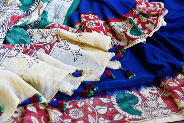Buy blue and red Tussar Kalamkari printed saree online in USA. Pure Elegance store presents an exclusive collection of printed Kalamkari saris from Indian in USA.-details