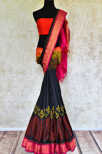 Buy ethnic navy blue ikkat silk sari online in USA from Pure Elegance. Our Indian fashion store brings a myriad of stunning pure woven silk sarees online for women in USA.-full view