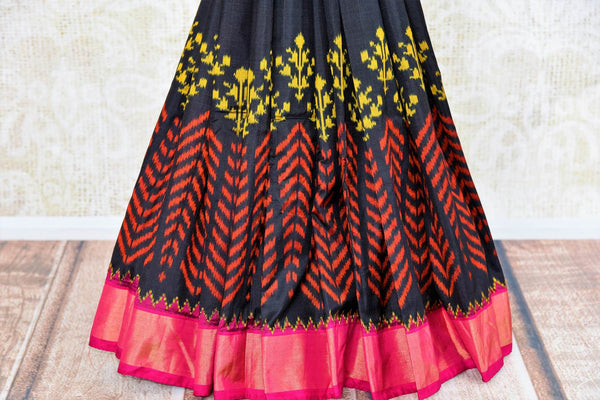 Buy ethnic navy blue ikkat silk sari online in USA from Pure Elegance. Our Indian fashion store brings a myriad of stunning pure woven silk sarees online for women in USA.-pleats