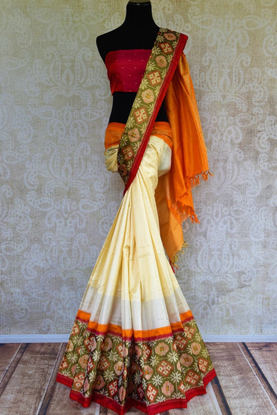 Buy elegant off white silk ikat saree online in USA from Pure Elegance. Our Indian fashion store brings a stunning range of pure woven ikkat silk sarees in USA.-full view