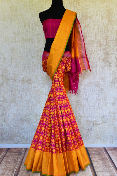 Buy bright and multi-colored ikkat silk saree online from Pure Elegance. Our Indian fashion store brings an alluring range of ikat sarees in USA for women for every occasion.-full view