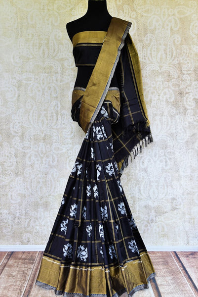 Buy elegant black silk ikkat sari online in USA with checker pattern from Pure Elegance. Our Indian fashion store brings an alluring range of ikkat silk sarees in USA.-full view