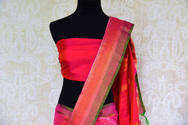 Buy ethnic dark pink silk ikat sari online in USA from Pure Elegance. Our Indian fashion store brings an alluring range of festive woven silk ikkat sarees in USA.-pallu