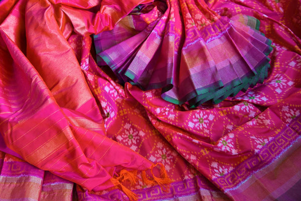 Buy ethnic dark pink silk ikat sari online in USA from Pure Elegance. Our Indian fashion store brings an alluring range of festive woven silk ikkat sarees in USA.-details