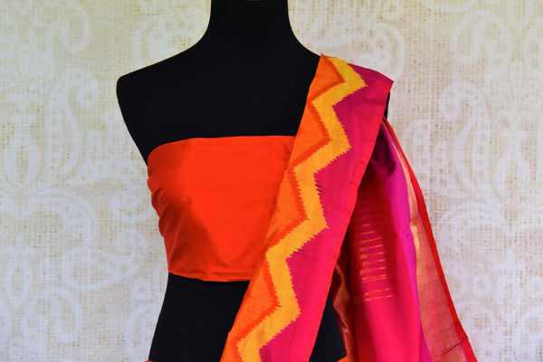 Buy black ikat silk saree online in USA with multicolor border from Pure Elegance. Our Indian fashion store brings an alluring range of woven silk ikkat sarees in USA.-pallu