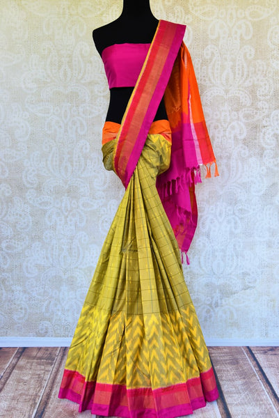 Buy beautiful yellowish greem ikat silk sari online from Pure Elegance. Our Indian fashion store in USA brings an exclusive range of ikkat sarees for women in USA.-full view