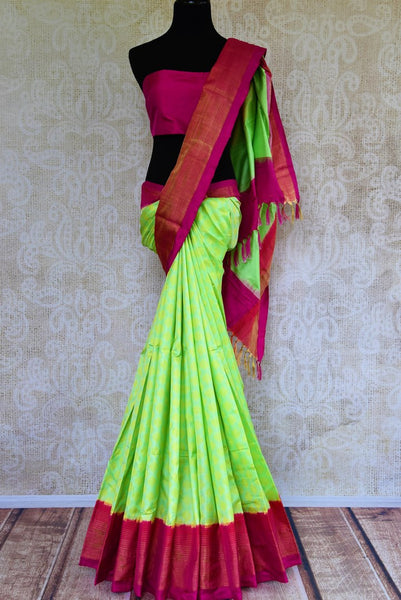 Buy fluorescent green ikat silk saree online in USA from Pure Elegance. Our Indian fashion store brings an alluring range of silk ikkat sarees in USA for women.-full view