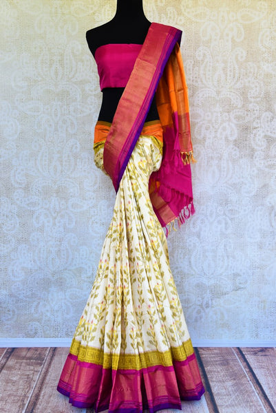 Buy off white silk ikat saree online from Pure Elegance. Our Indian fashion store brings a stunning range of ikkat saris in USA for women perfect for various occasions.-full view