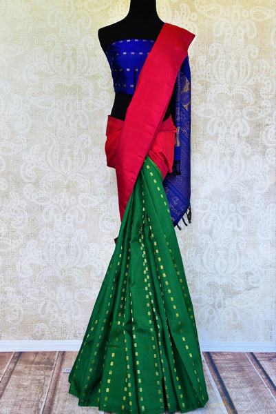 Buy green and pink Kanchipuram silk saree online in USA from Pure Elegance. Our Indian fashion store brings a stunning range of traditional Kanjivaram sarees in USA.-full view