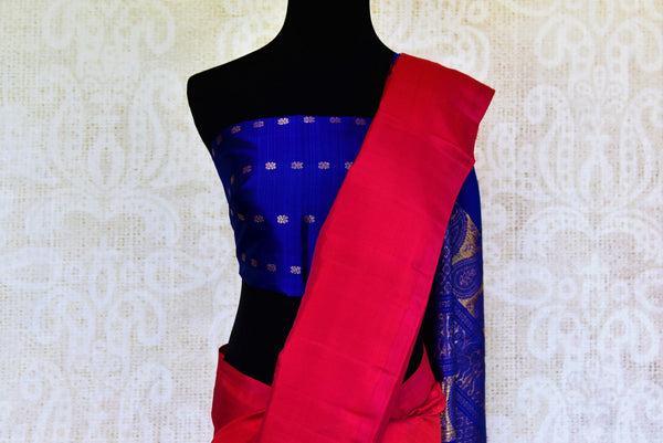 Buy green and pink Kanchipuram silk saree online in USA from Pure Elegance. Our Indian fashion store brings a stunning range of traditional Kanjivaram sarees in USA.-pallu