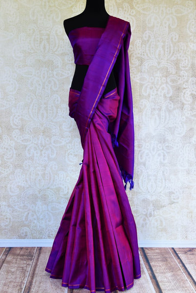 Buy purple Kanchipuram silk saree online in USA from Pure Elegance. Our Indian fashion store brings a stunning range of woven Kanjeevaram sarees in USA for women.-full view