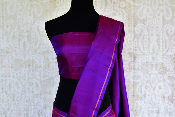 Buy purple Kanchipuram silk saree online in USA from Pure Elegance. Our Indian fashion store brings a stunning range of woven Kanjeevaram sarees in USA for women.-pallu