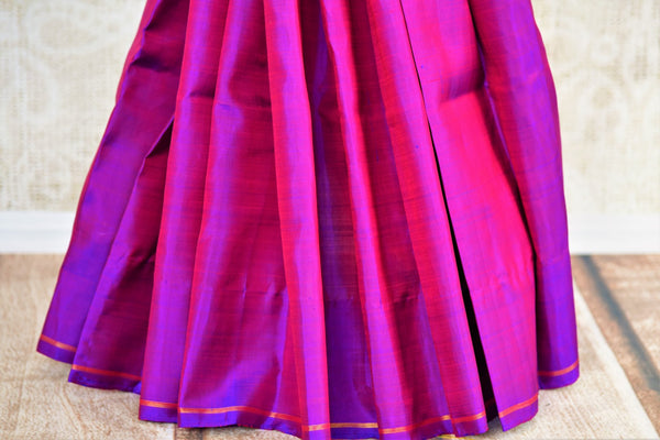 Buy purple Kanchipuram silk saree online in USA from Pure Elegance. Our Indian fashion store brings a stunning range of woven Kanjeevaram sarees in USA for women.-pleats