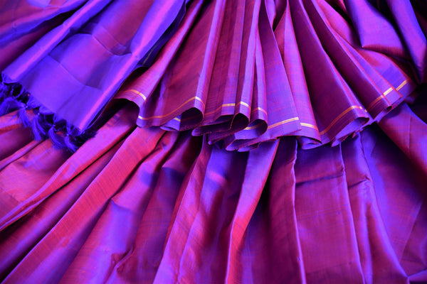 Buy purple Kanchipuram silk saree online in USA from Pure Elegance. Our Indian fashion store brings a stunning range of woven Kanjeevaram sarees in USA for women.-details
