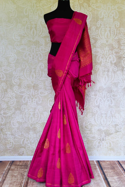 Buy pink Kanjeevaram silk saree online in USA with pure zari buta.  Pure Elegance Indian fashion store brings exclusive range of woven Kanjivaram silk sarees in USA.-full view