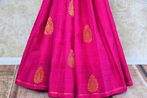 Buy pink Kanjeevaram silk saree online in USA with pure zari buta.  Pure Elegance Indian fashion store brings exclusive range of woven Kanjivaram silk sarees in USA.-pallu