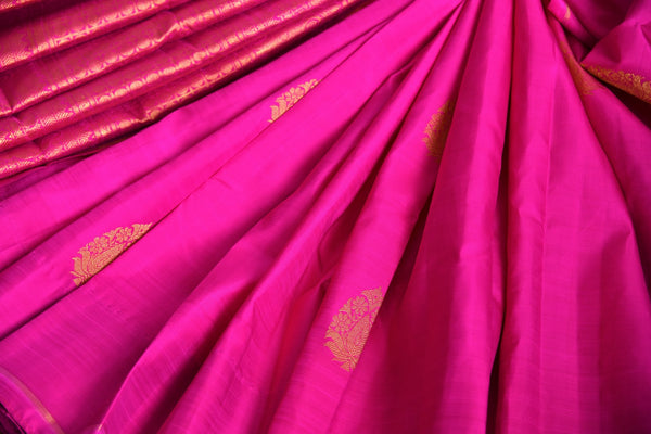 Buy pink Kanjeevaram silk saree online in USA with pure zari buta.  Pure Elegance Indian fashion store brings exclusive range of woven Kanjivaram silk sarees in USA.-details