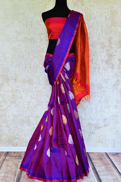 Buy purple zari buta Kanchipuram silk saree online in USA from Pure Elegance. Our Indian fashion store brings a stunning range of Kanjivaram saris in USA for women.-full view