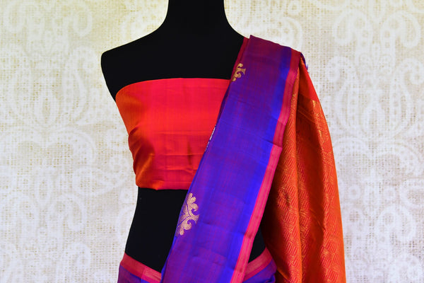 Buy purple zari buta Kanchipuram silk saree online in USA from Pure Elegance. Our Indian fashion store brings a stunning range of Kanjivaram saris in USA for women.-pallu