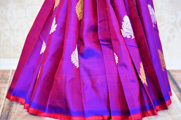 Buy purple zari buta Kanchipuram silk saree online in USA from Pure Elegance. Our Indian fashion store brings a stunning range of Kanjivaram saris in USA for women.-pleats