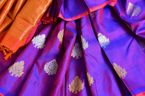 Buy purple zari buta Kanchipuram silk saree online in USA from Pure Elegance. Our Indian fashion store brings a stunning range of Kanjivaram saris in USA for women.-details