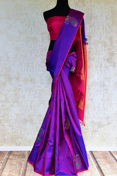 Buy purple peacock buta Kanjivaram silk saree online in USA from Pure Elegance. Our Indian fashion store brings a stunning range of Kanjeevaram sarees in USA for women.-full view