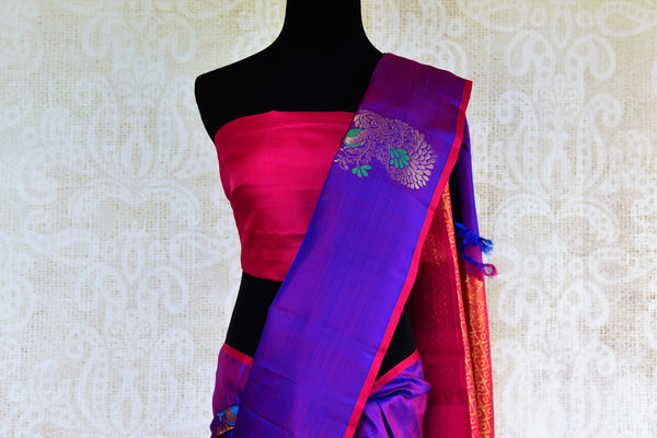 Buy purple peacock buta Kanjivaram silk saree online in USA from Pure Elegance. Our Indian fashion store brings a stunning range of Kanjeevaram sarees in USA for women.-pallu