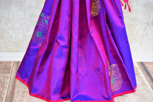 Buy purple peacock buta Kanjivaram silk saree online in USA from Pure Elegance. Our Indian fashion store brings a stunning range of Kanjeevaram sarees in USA for women.-pleats