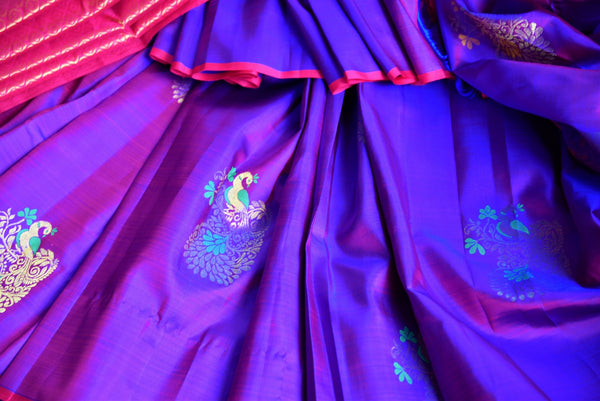 Buy purple peacock buta Kanjivaram silk saree online in USA from Pure Elegance. Our Indian fashion store brings a stunning range of Kanjeevaram sarees in USA for women.-details