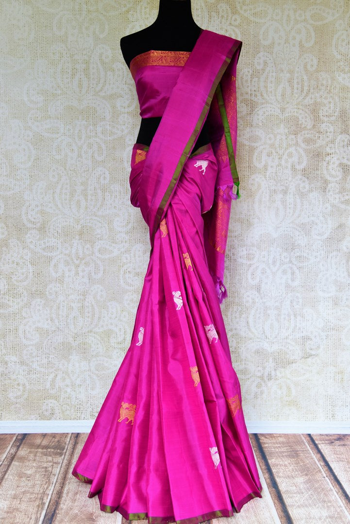 Buy fuschia pink Kanjivaram silk sari online in USA with zari animal buta.  Pure Elegance Indian fashion store brings exclusive range of Kanjivaram silk sarees in USA.-full view