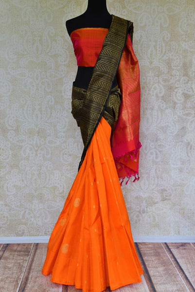 Buy orange and black Kanjeevaram silk saree online in USA. Browse through a stunning range of traditional Indian Kanjivaram sarees at Pure Elegance online store.-full view