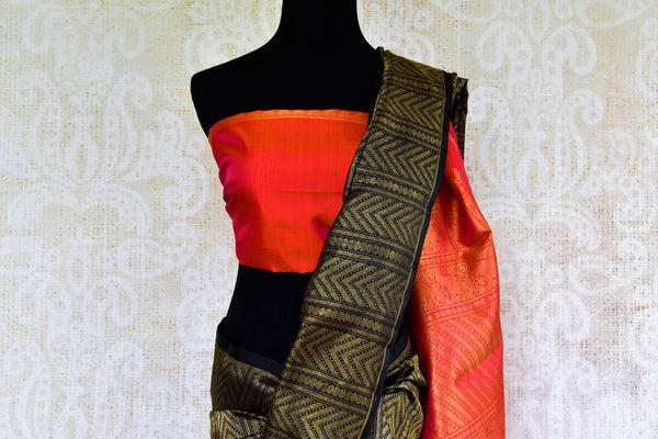 Buy orange and black Kanjeevaram silk saree online in USA. Browse through a stunning range of traditional Indian Kanjivaram sarees at Pure Elegance online store.-pallu