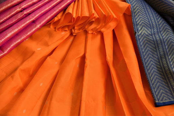 Buy orange and black Kanjeevaram silk saree online in USA. Browse through a stunning range of traditional Indian Kanjivaram sarees at Pure Elegance online store.-details