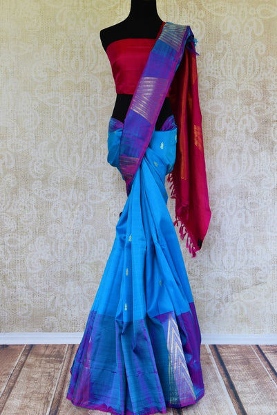 Buy sea blue Kanchipuram silk saree online in USA..  Pure Elegance Indian fashion store brings exclusive range of woven Kanjeevaram silk sarees in USA for various occasions.-full view